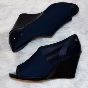Calvin Klein Navy Blue Platform Open Toe Shoes